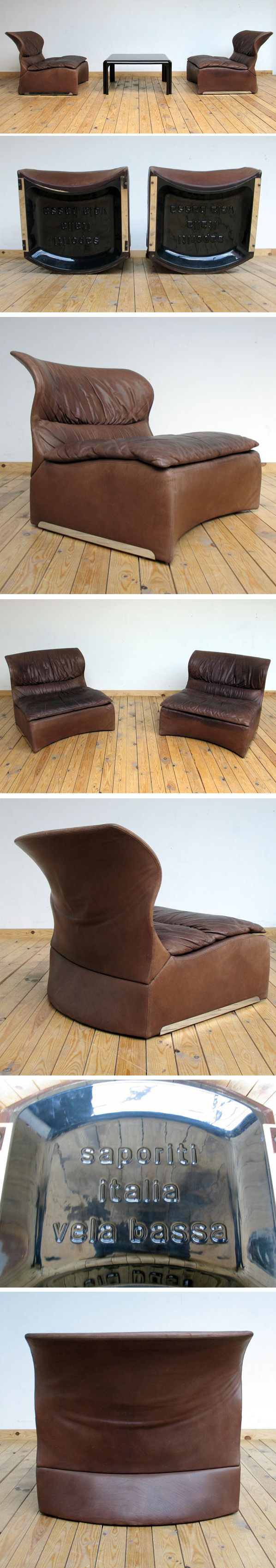 Giovanni Offredi 2 leather lounge chairs Vela Bassa Saporiti Large