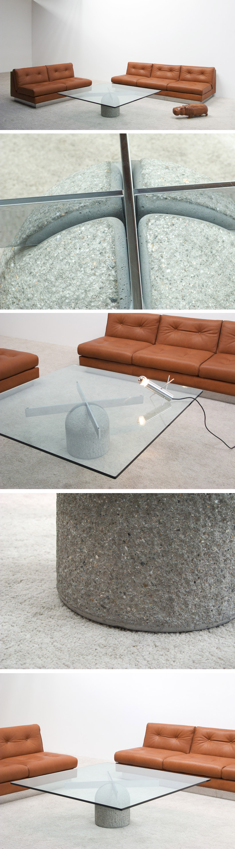 Giovanni Offredi Coffee table Paracarro for Saporiti Large