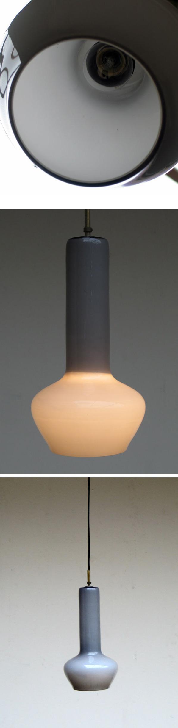 Glass Vistosi ceiling lamp eames era Murano Venni 1970 Large