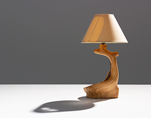 Grandjean Jourdan faux bois ceramic table lamp for Vallauris