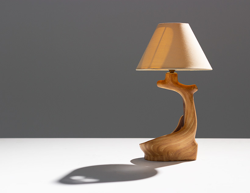 Grandjean Jourdan faux bois ceramic table lamp for Vallauris img 4
