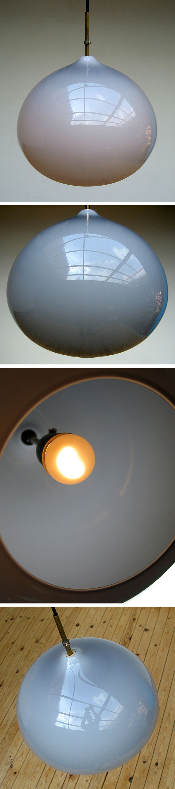Grey onion ceiling lamp Vistosi Italy 1970 Large