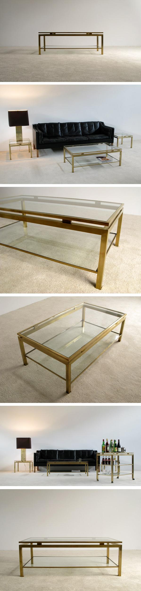 Guy Lefevre brass coffee table Maison Jansen Large