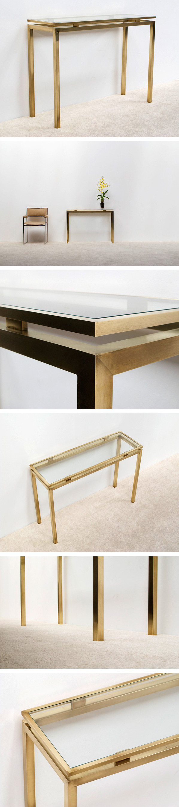 Guy Lefevre brass console table Maison Jansen Large