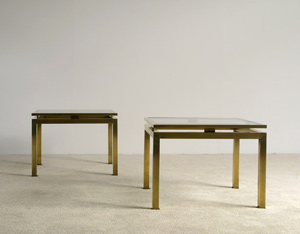 Guy Lefevre pair of brass side tables Maison Jansen