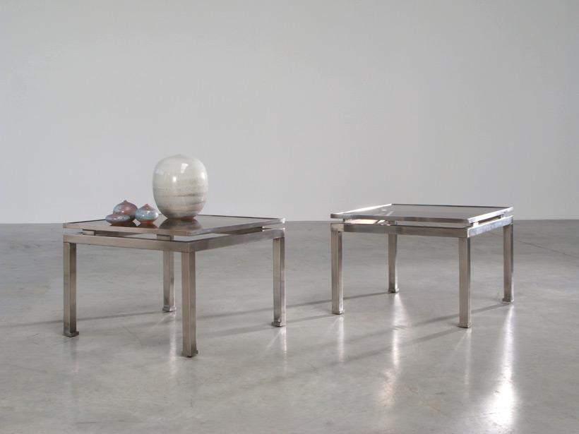 Guy Lefevre pair of side tables Maison Jansen 1970 Large