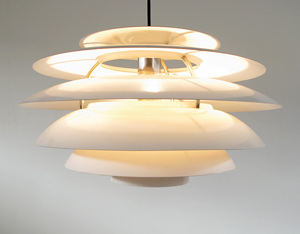 Hanging White Modernist Chandelier by Stilnovo