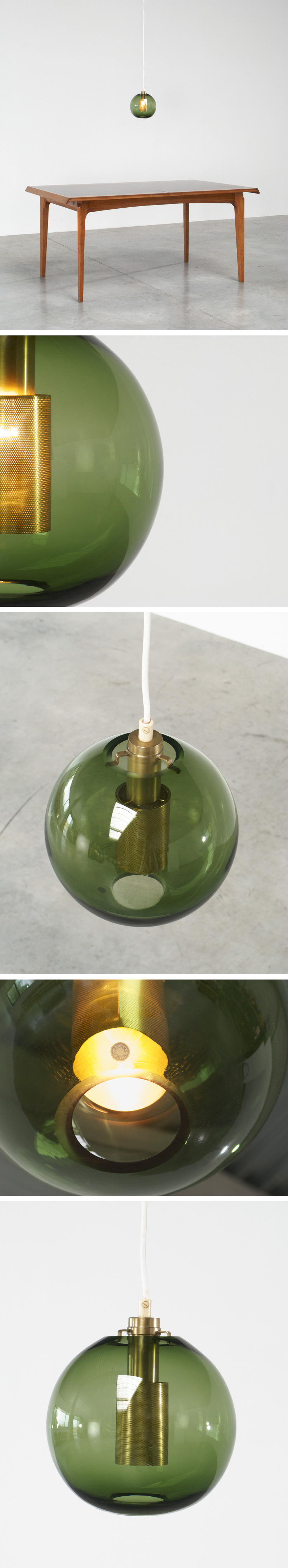 Hans Agne Jakobsson Green Glass Pendants AB Markaryd Large