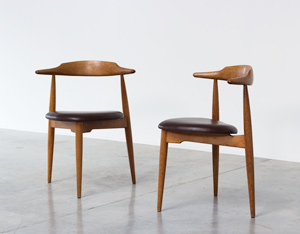 Hans Wegner pair of Heart chairs 4103 Fritz Hansen 1952