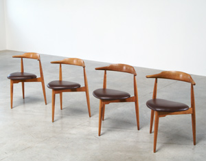 Hans Wegner set of four Heart chairs 4103 Fritz Hansen 1952