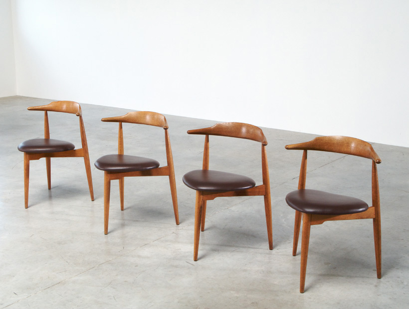 Beau Hans Wegner Set Of Four Heart Chairs 4103 Fritz Hansen 1952