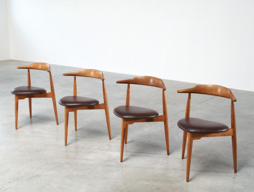 Hans Wegner set of four Heart chairs 4103 Fritz Hansen 1952