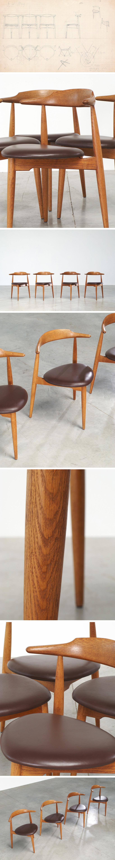 Hans Wegner Set Of Four Heart Chairs 4103 Fritz Hansen 1952 Furniture