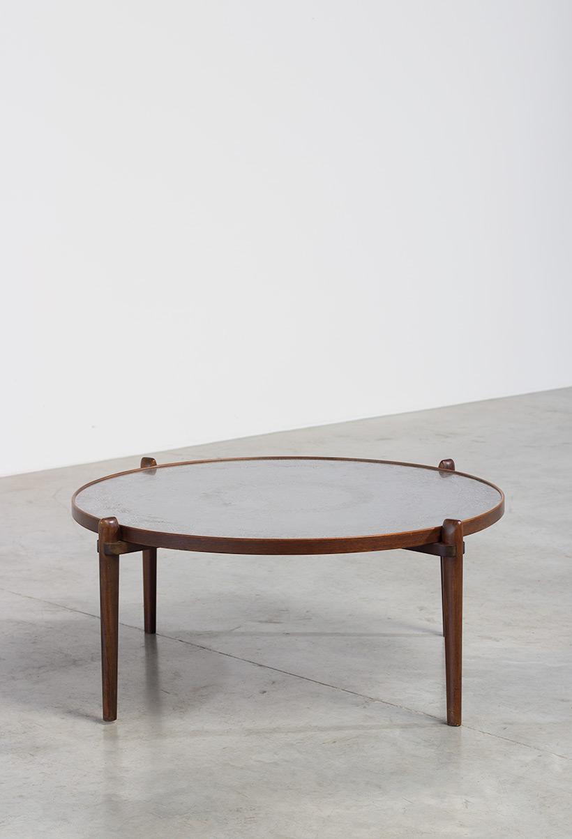 Heinz Lilienthal Etched circular Walnut Coffee Table circa 1960