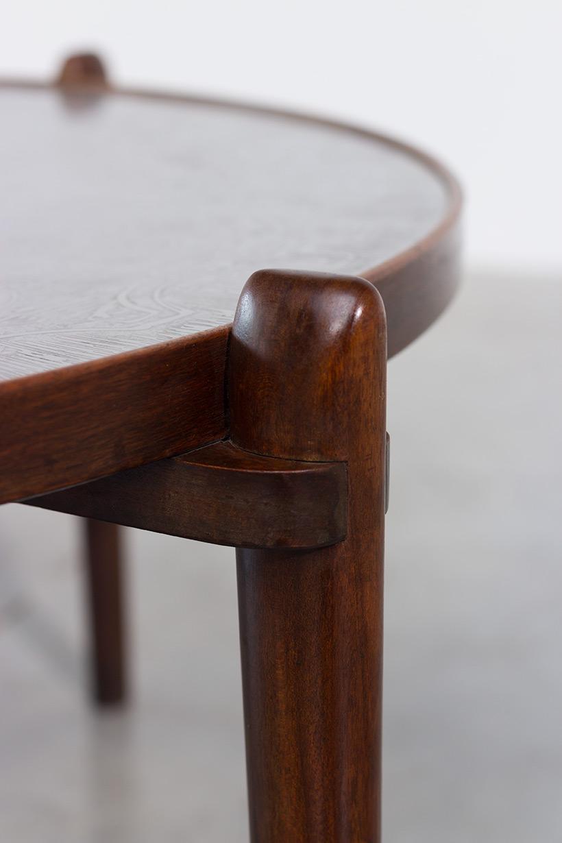 Heinz Lilienthal Etched circular Walnut Coffee Table circa 1960 img 4