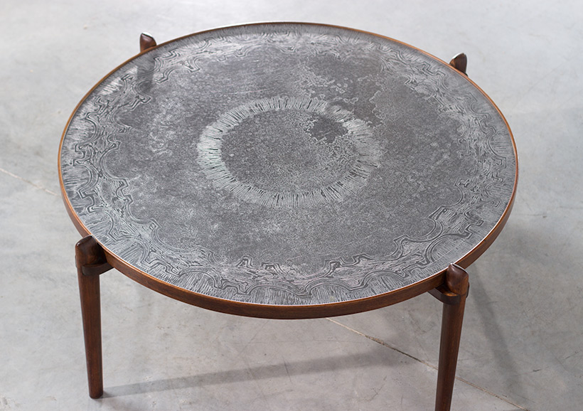 Heinz Lilienthal Etched circular Walnut Coffee Table circa 1960 img 6