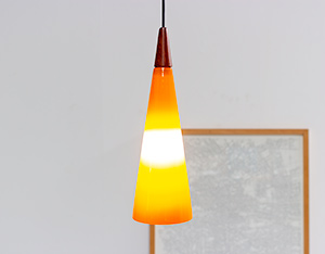 Holmegaard glass cone shaped pendant light 1960