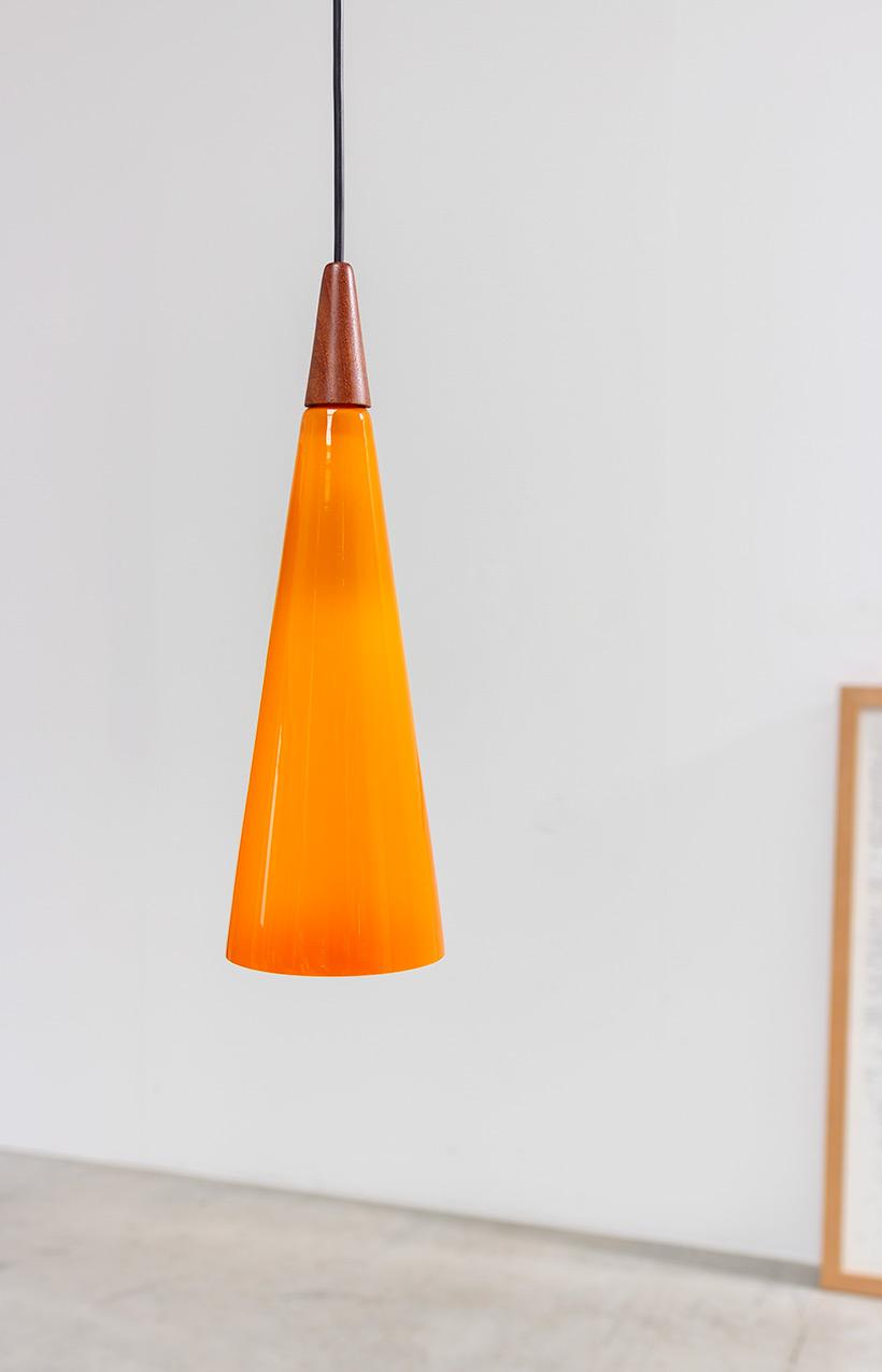 Holmegaard Glass Cone Shaped Pendant Light 1960 Furniture Love