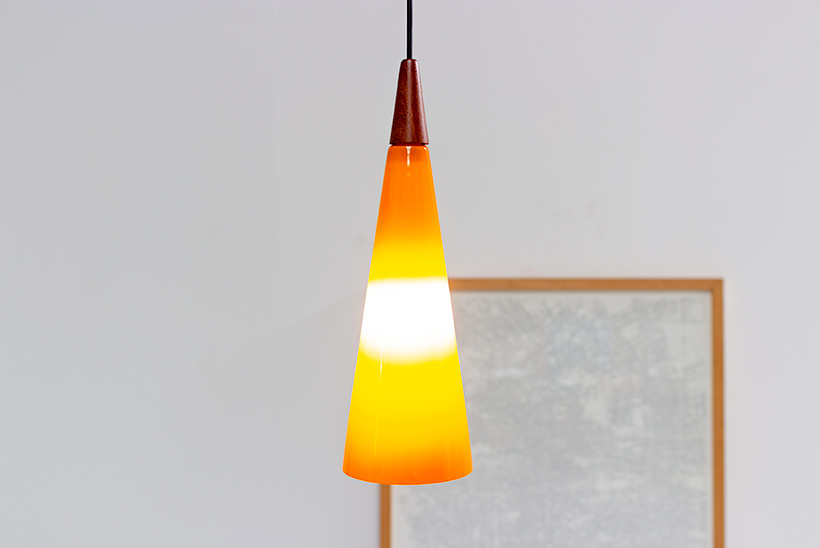Holmegaard glass cone shaped pendant light 1960 img 5