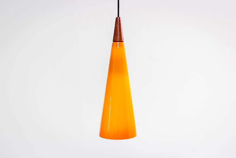 Holmegaard glass cone shaped pendant light 1960 img 6