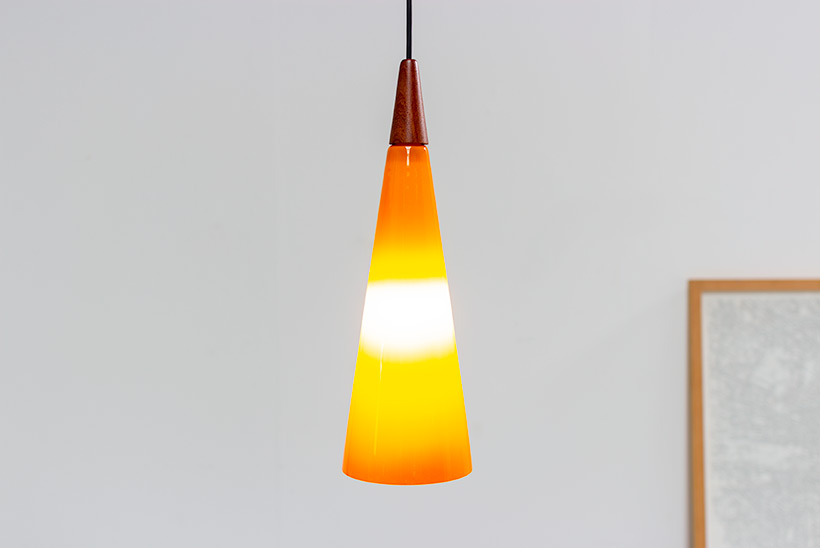 Holmegaard glass cone shaped pendant light 1960 img 7
