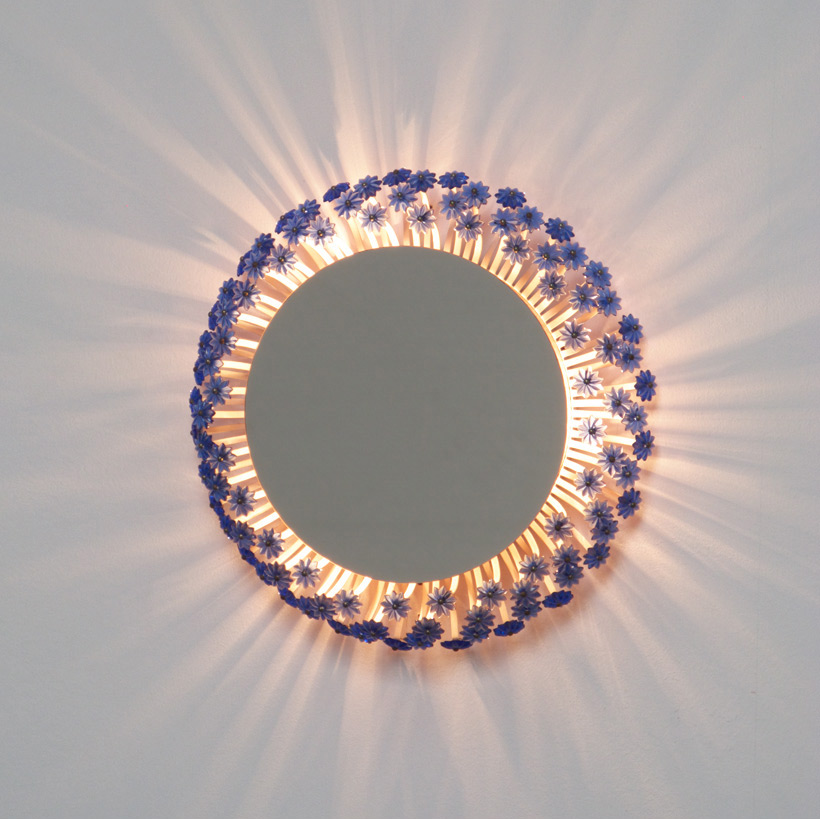 Illuminated circular flower mirror