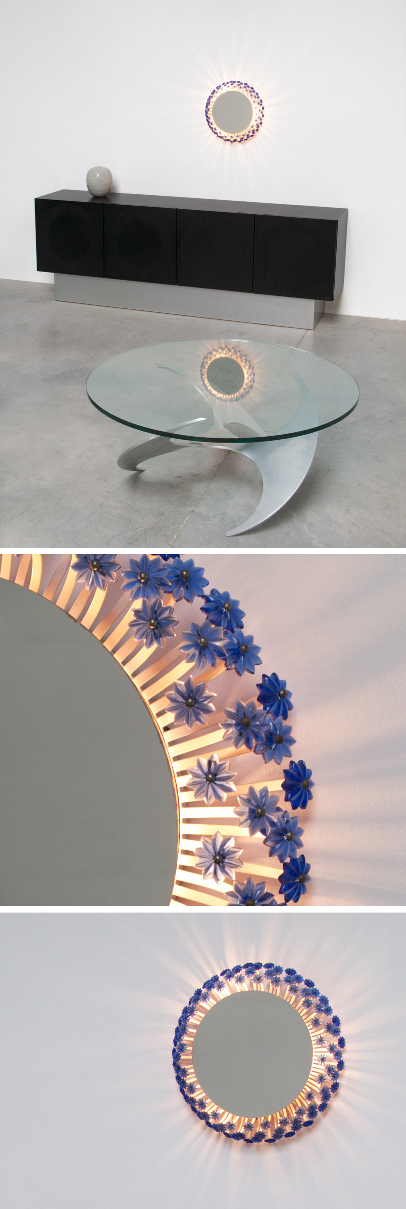 Illuminated circular flower mirror Large