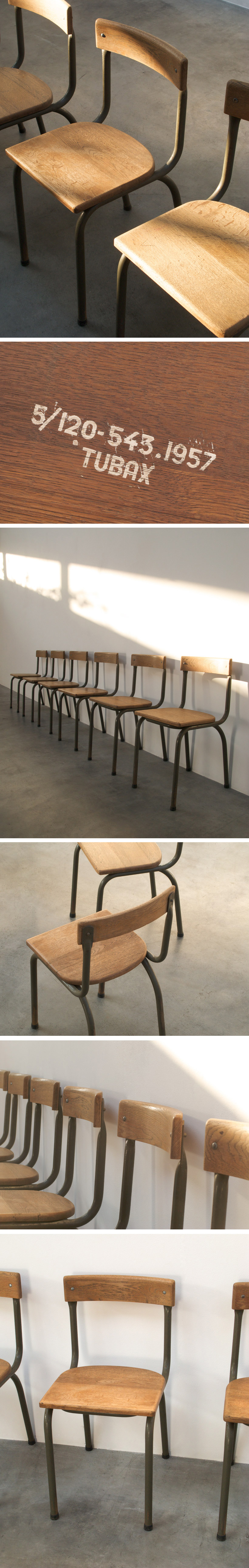 Industrial chairs Tubax dated 1957 Large