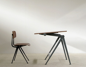 Industrial Reply drafting table and chair Wim Rietveld