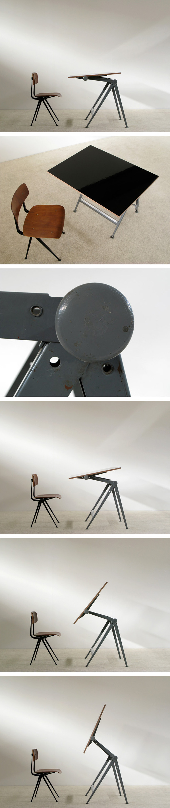 Industrial Reply drafting table and chair Wim Rietveld Large