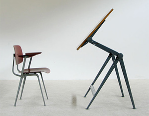 Industrial Reply drafting table Wim Rietveld and Friso Kramer chair