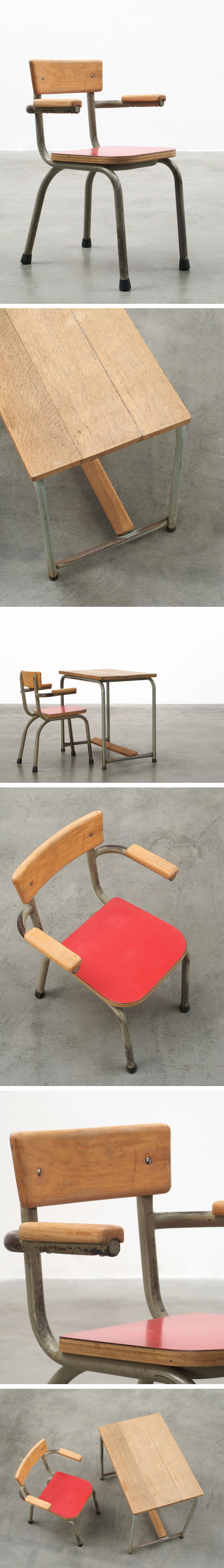 Industrial school desk and chair for children Tubax Large