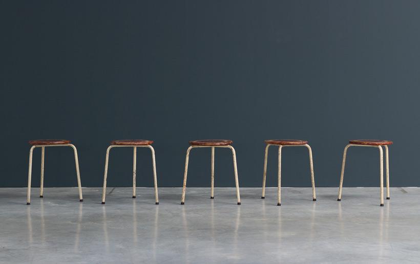 Industrial tree legged stools 1950 Large