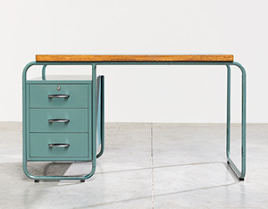 Industrial Tubular Steel and Linoleum Desk Bauhaus 1940s
