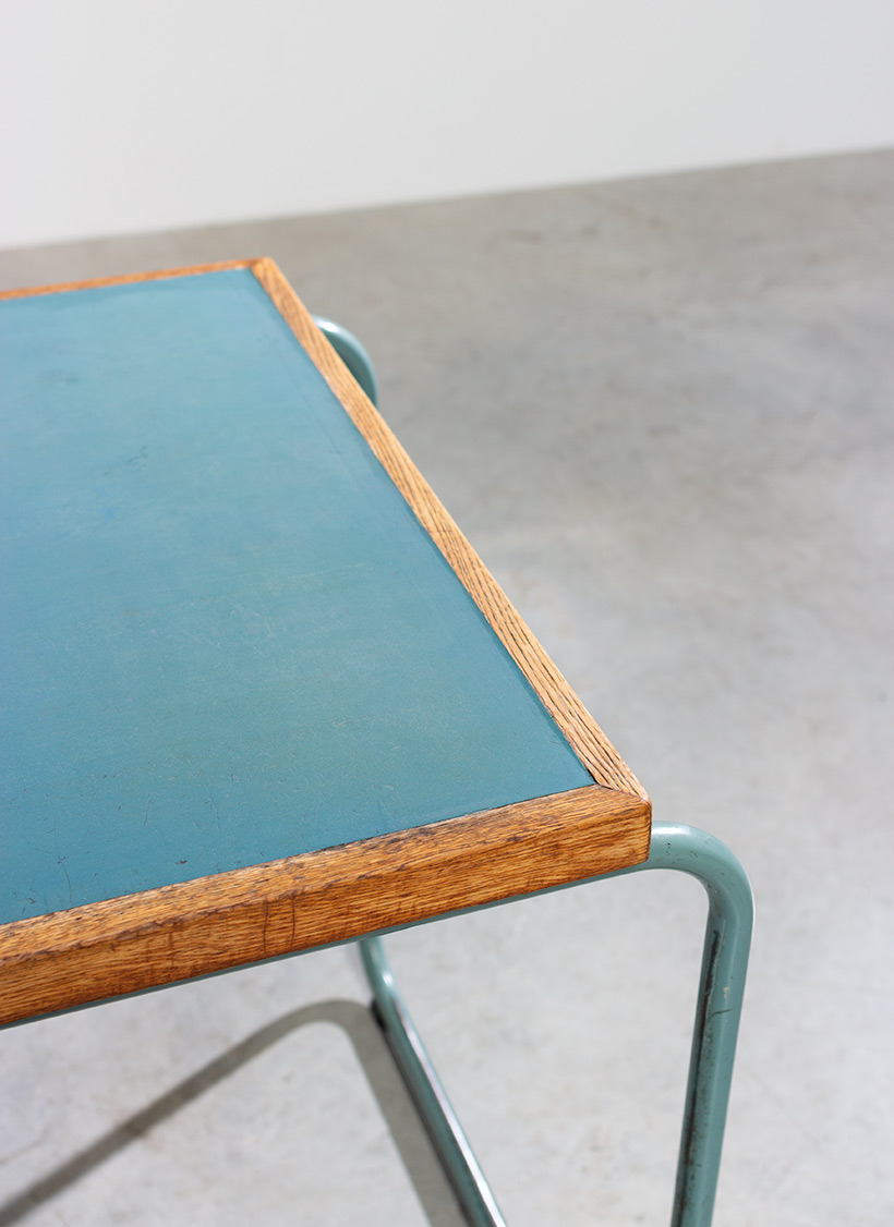 Industrial Tubular Steel and Linoleum Desk Bauhaus 1940s img 7