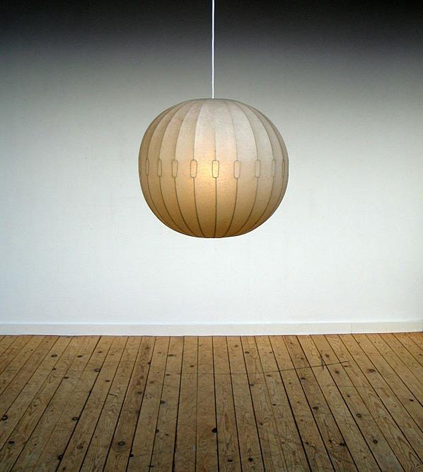 Italian 1960 pendant ball lamp sprayed fiberglass