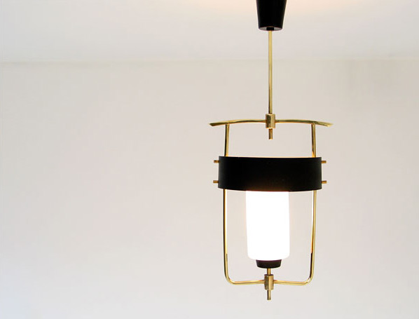 Italian brass fifties ceiling lamp