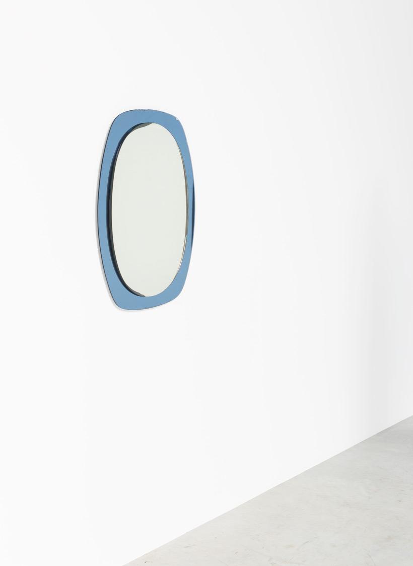 Italian modern smoked blue wall mirror circa 1960