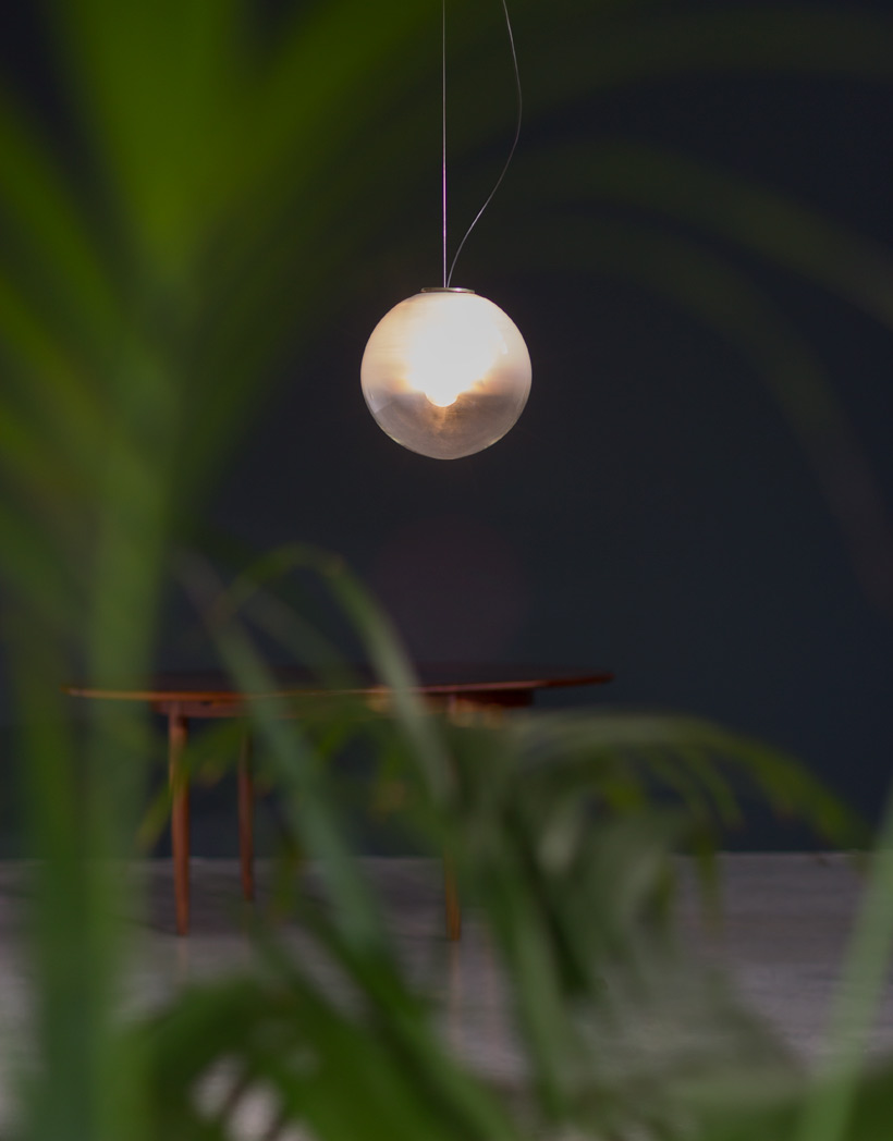 Italian opaline and clear glass pendant lamp