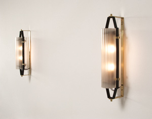 Italian opaline glass sconces circa 1950