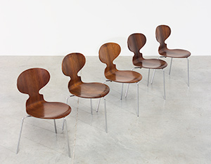 Jacobsen Arne set of five Ant Rosewood chairs Fritz Hansen Denmark