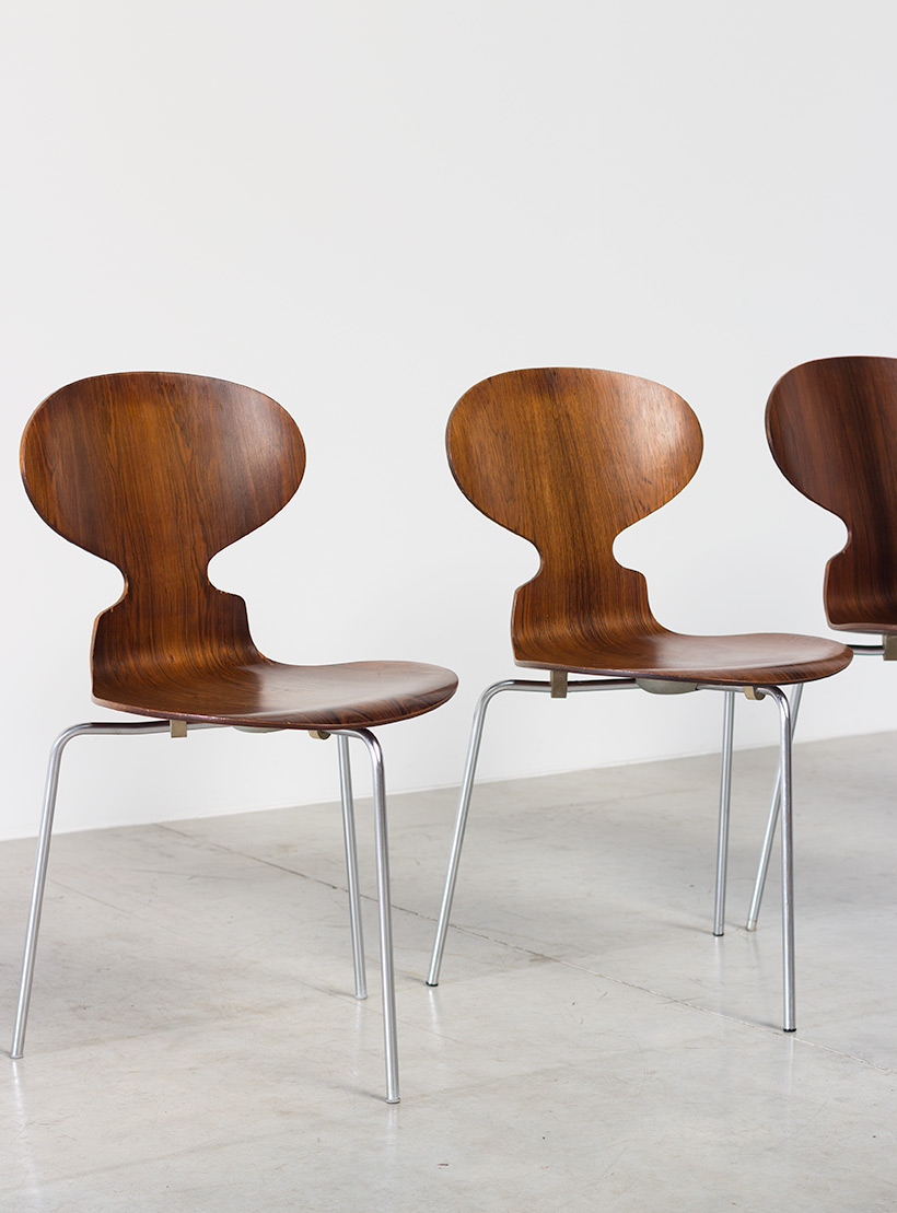 Jacobsen Arne set of five Ant Rosewood chairs Fritz Hansen Denmark img 3