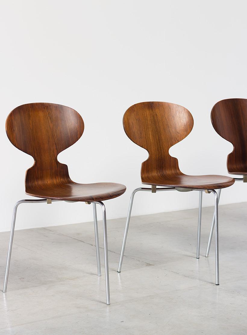 Jacobsen Arne set of five Ant Rosewood chairs Fritz Hansen Denmark img 3