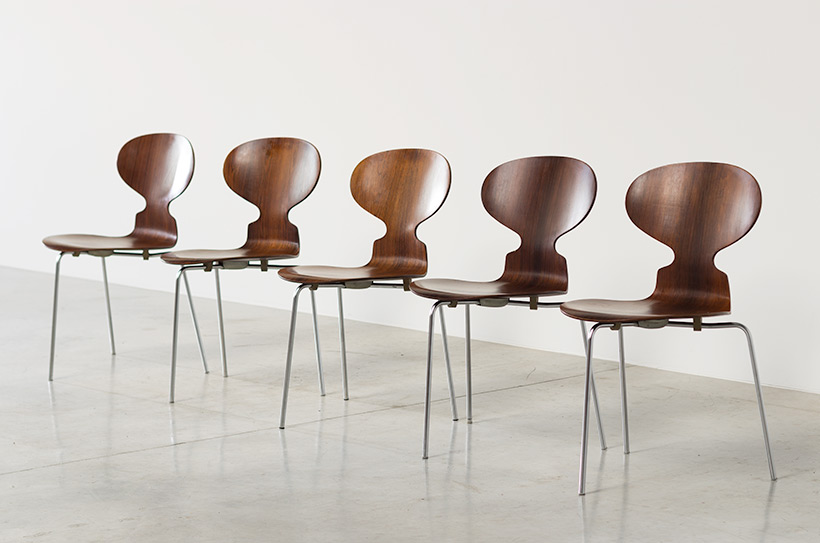 Jacobsen Arne set of five Ant Rosewood chairs Fritz Hansen Denmark img 4