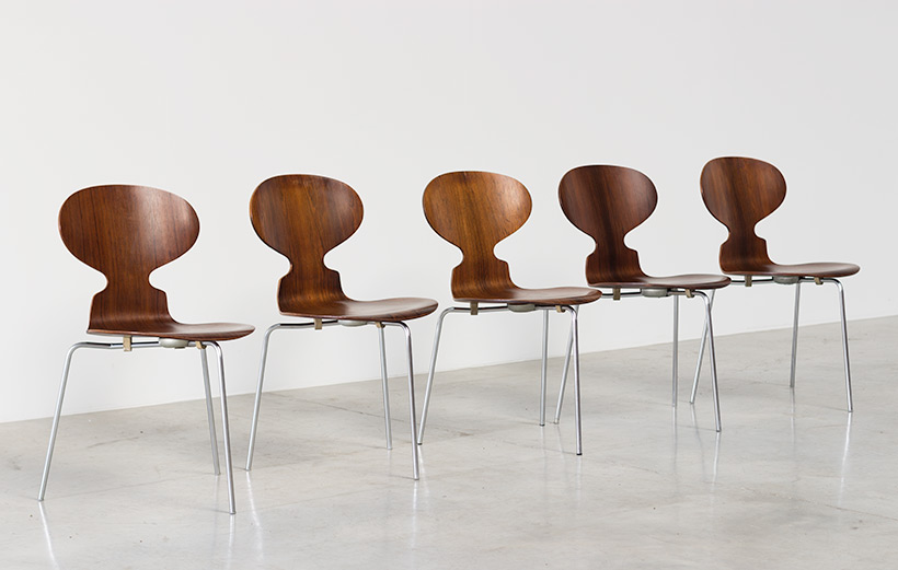 Jacobsen Arne set of five Ant Rosewood chairs Fritz Hansen Denmark img 5