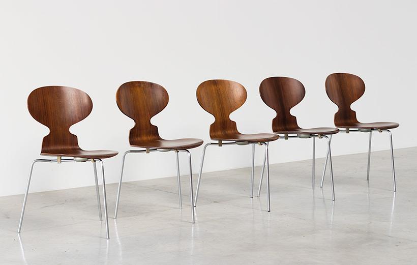 Jacobsen Arne set of five Ant Rosewood chairs Fritz Hansen Denmark img 5
