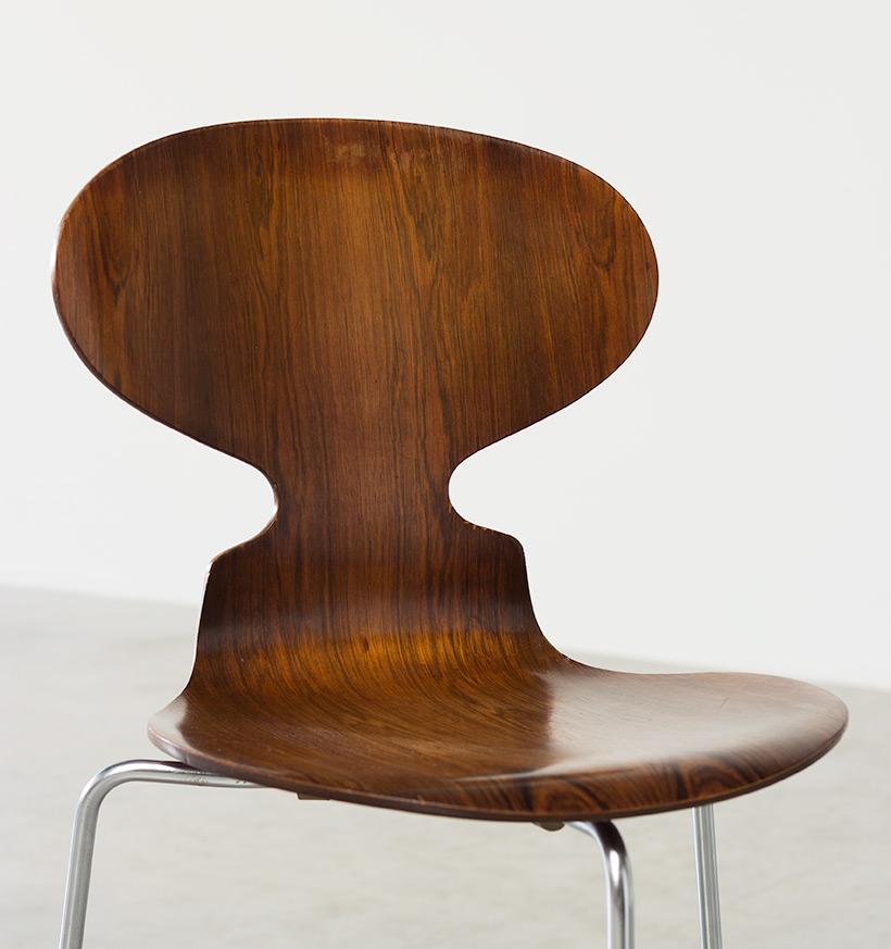 Jacobsen Arne set of five Ant Rosewood chairs Fritz Hansen Denmark img 6