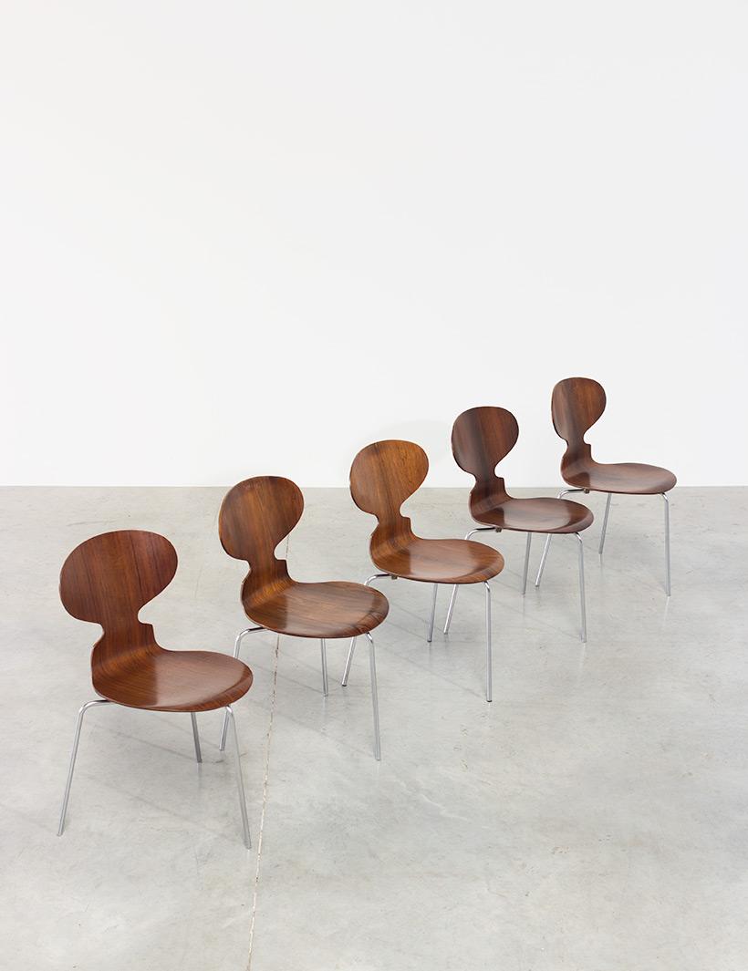 Jacobsen Arne set of five Ant Rosewood chairs Fritz Hansen Denmark img 7