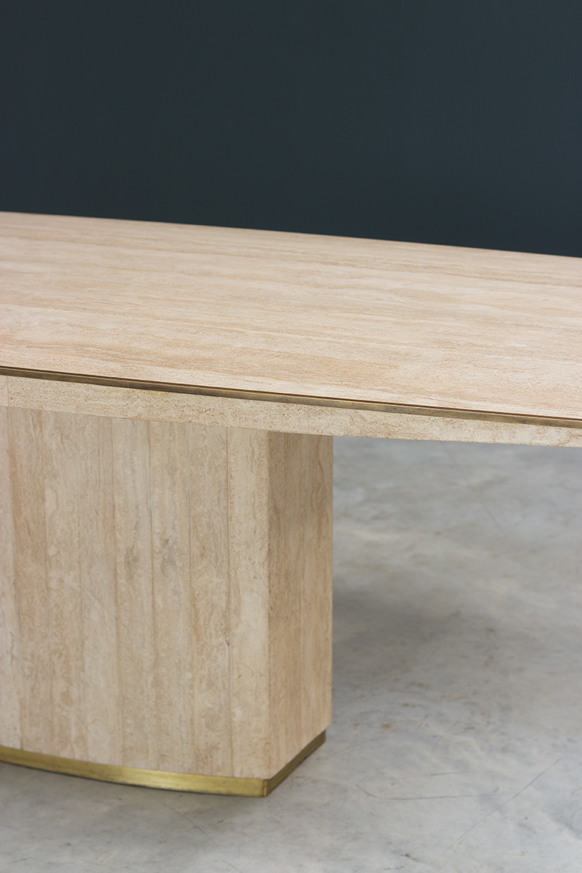 Jean Charles and Willy Rizzo travertine and brass dinning table or console img 4