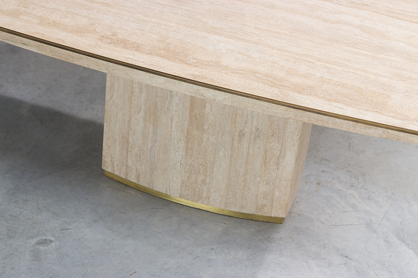 Jean Charles and Willy Rizzo travertine and brass dinning table or console img 5